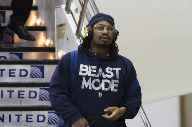 Marshawn Lynch tries to trademark 'I'm just here so I won't get fined'